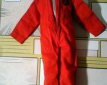GI JOE Vintage Adventure Team Volcano Red Jump Suit and boots 1970's 12 inch Figure accessories
