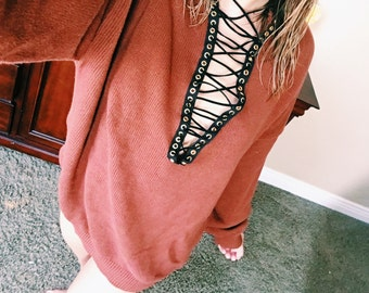 LF inspired Lace Up Oversized Sweater