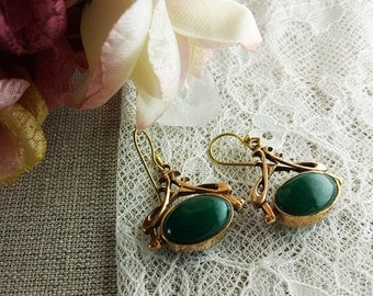 Green agate-conversion earrings-solid bronze-earrings--cool-bridesmaid jewelry-one of a kind gift