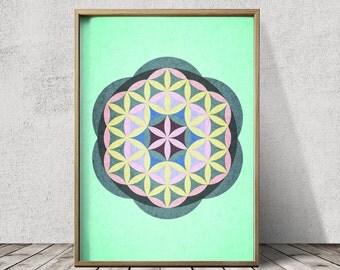Mandala Poster Prints Geometric Poster Geometric Wall Art Mandala Wall Art Sacred Geometry Poster Mandala Art