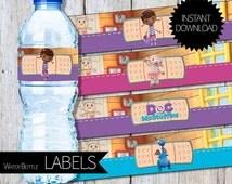 Doc McStuffins Birthday Party PRINTABLE Water Bottle Labels- Instant Download | Disney Junior | Doctor McStuffins | Cake Topper