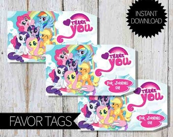 My Little Pony Birthday Party PRINTABLE Favor Tags- Instant Download | Little Pony Friendship is Magic