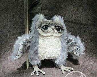 Grey Owl Monster Plush Stuffed Toy Gift