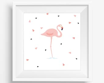 Flamingo gallery wall art print digital download