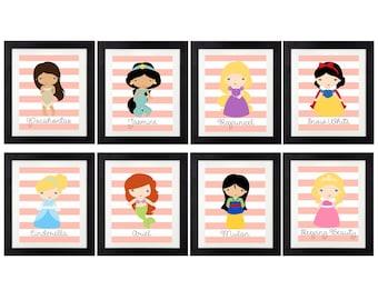 Princess Printable < Princesses < Princess Wall Art < Ariel < Belle < Snow White < Cinderella < Merida < Set of 8 < Princess Bedroom
