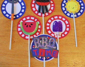 Cake Toppers / Centerpiece - BBQ Party (set of 6)