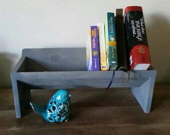 Wooden bookshelf, wooden book shelf, rustic wood shelf, rustic wooden bookshelf, raised bookshelf