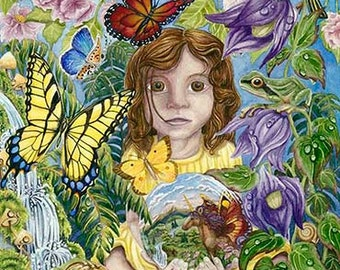 "Imaginature 11"" x 20"" Original Watercolor, Giclee Print on canvas, imagination child butterflies flowers waterfall frog moss realism nature"