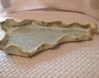 Large Handbuilt Pottery Leaf Dish