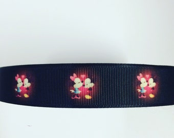 7/8 22mm Minnie and Mickey Mouse grosgrain ribbon