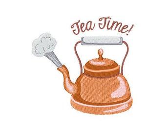 Tea Pot Kettle Tea Time - machine embroidery design