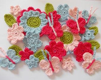 Crochet flower set with butterflies - 26 items