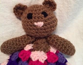Teddy bear lovey, baby blanket, teddy blanket, teddy security blanket, teddy bear, baby shower gift
