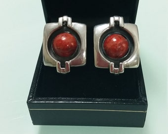 Coral and Silver Clipon Earrings Deco Style 1980s