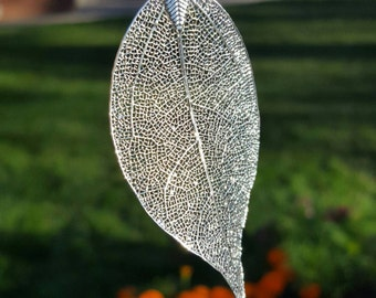 Silver Plated Leaf Necklace, Long Necklace, Leaf Pendant,