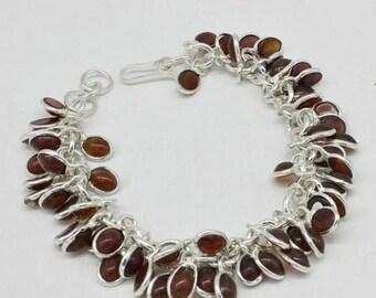 Genuine Bezel Set Honey Chalcedony Lady 925 Sterling Silver Charm Bracelet