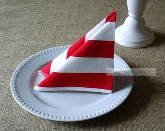 Red and White Stripe Napkin Set Table Linens Party Decor Table Centerpiece Dining Room Kitchen Decor Cloth Fabric Napkins