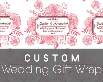 Custom Wedding Gift Wrapping Paper, Flower Bouquet Emblem; Wedding Gift Wrap