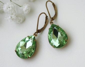 green earrings, rhinestone earrings, green rhinestone earrings, green dangle earrings, vintage earrings