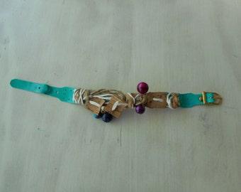 Women's bracelet. Green bracelet aquamarine, horse mackerel application