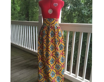 Ankara Yellow Maxi Skirt