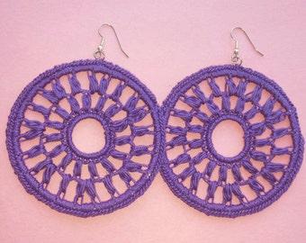 Large Crochet Diana Earrings- Purple