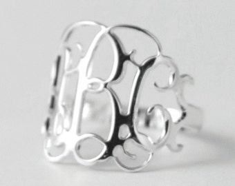 Monogram Ring: Silver - Initial Ring - Silver Letter Ring - Silver Thin ring - Silver Thin Band - Custom Ring - Personalized Gift - Ring