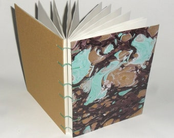 Diary marble turquoise-gold / / Blankobuch / / notebook / / gift