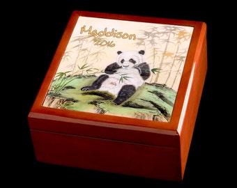 Jewellery Box, Personalised Jewellery Box, Panda Art, Panda Jewellery Box, Gift idea