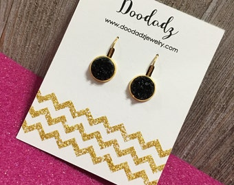 Black 12 mm druzzy dangle earrings with gold base