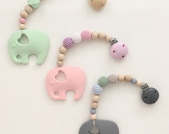 Biting chain silkon elephant with crochet beads