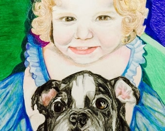 Unique portraits of people and pets using color pencils in traditional or fantasy themes.