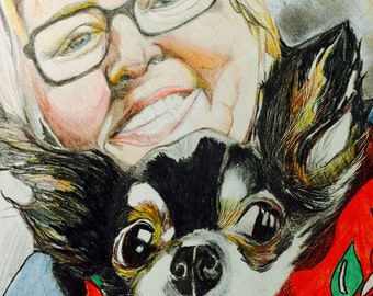 Unique colorful pencil portraits of people and pets made to order