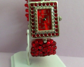 Sparkling red rhinestone watch with beaded bracelet