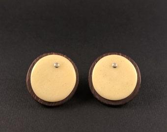 amaranth and bone earrings