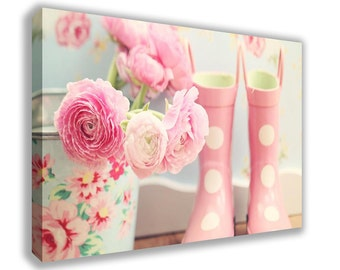 Vintage Floral Pink Welly Boots Flowers Canvas Wall Art