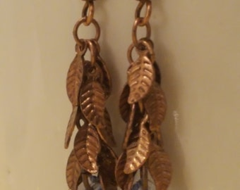Antiqued Copper Leaves and Swarovski Crystal Drop Earrings
