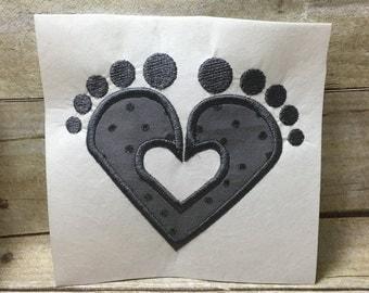 Baby Feet Applique, Baby Feet Heart Applique
