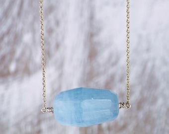 Faceted Aquamarine Stone Necklace/Aquamarine Pendant Necklace/March Birthstone