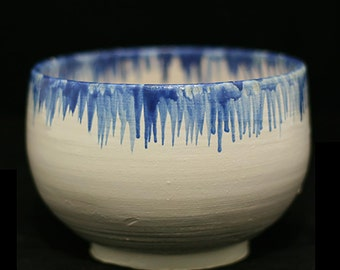 Bowl or Chawan blue rain