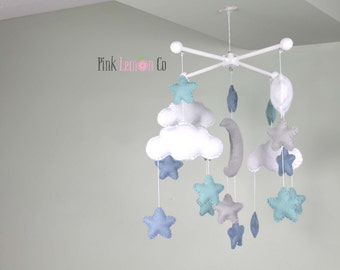 baby mobile, baby mobile moon and stars, cloudbaby mobile