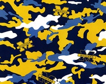University of Michigan Camouflage Cotton Fabric - By the Yard
