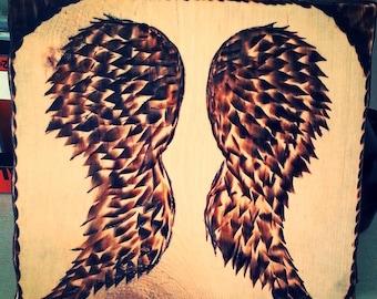 hand burned angel wings