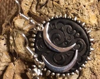 Dark Side of the Moon Sterling Silver Earrings