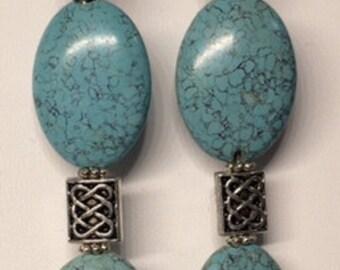 Long Turquoise and Sesame Jasper Earring