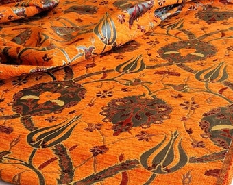 SALE!!!By the Meters,Yards,Tulips,Chenille,Jacquard, Ethnic,Tribal,Turkish,Ottoman Chenille Upholstery Fabric, Velvet , Fabric,Orange