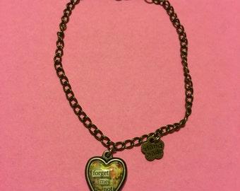 Forget Me Not cabochon pendant chain link bracelet