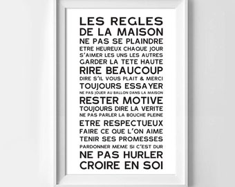 Print poster of the House rules in french, original home decor.