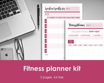 Fitness planner and workout log insert, printable. Weekly fitness plan. A4 Size, Portrait. Instant download. PDF & JPEG format, 300dpi.