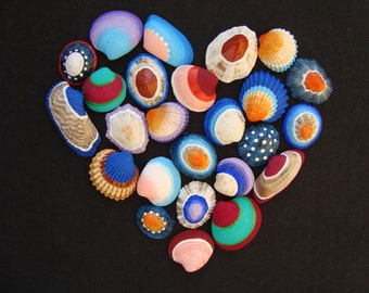 Cheerful coloured shells set-italian sea shells-mediterranean sea shells-painted sea shells